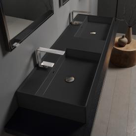 Scarabeo Teorema 2.0 Doppel-Aufsatz- oder Hängehandwaschbecken schwarz matt, mit BIO System Beschichtung