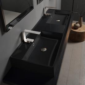 Scarabeo Teorema 2.0 Doppel-Aufsatz- oder Hängehandwaschbecken schwarz, mit BIO System Beschichtung