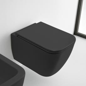 Scarabeo Teorema 2.0 Wand-Tiefspül-WC mit WC-Sitz, ohne Spülrand schwarz matt, mit BIO System Beschichtung