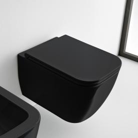 Scarabeo Teorema 2.0 Wand-Tiefspül-WC mit WC-Sitz, ohne Spülrand schwarz, mit BIO System Beschichtung