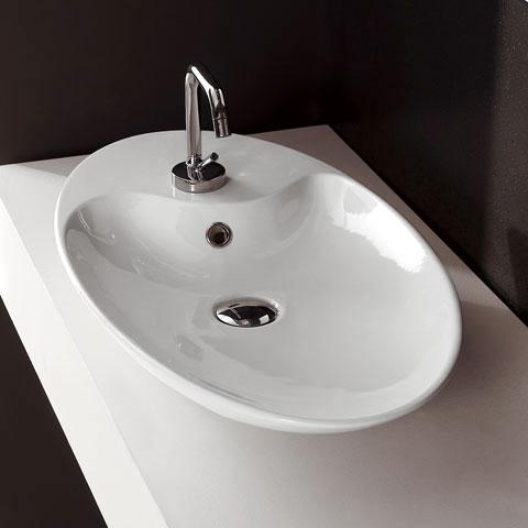 Aufsatzwaschbecken oval mit hahnloch  Scarabeo Shape Aufsatzwaschtisch, oval weiß - 8097 | REUTER