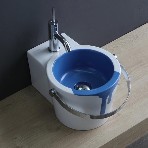 Scarabeo Bucket Aufsatz- oder Hängewaschbecken mit Dekor weiß/blau