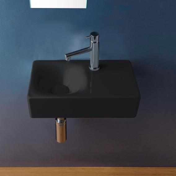 Scarabeo Cube Aufsatz- oder Hängewaschbecken schwarz, mit BIO System Beschichtung