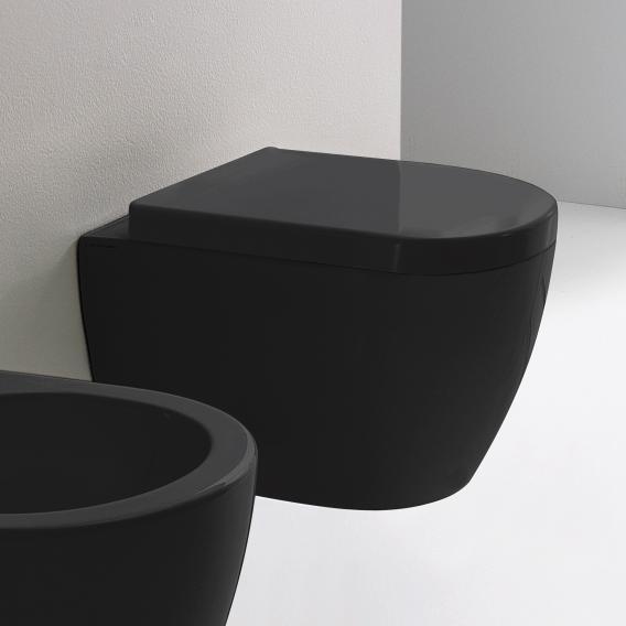 Scarabeo Moon Wand-Tiefspül-WC, kurze Ausführung, ohne Spülrand schwarz, mit BIO System Beschichtung