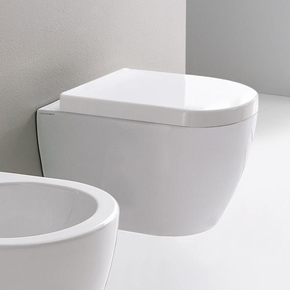 Scarabeo Moon Wand-Tiefspül-WC, kurze Ausführung, ohne Spülrand weiß, mit BIO System Beschichtung
