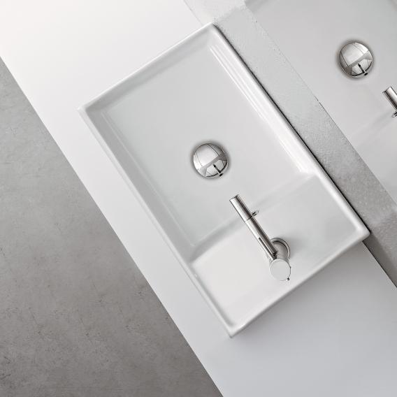Scarabeo Teorema R Aufsatz- oder Hängehandwaschbecken weiß, mit BIO System Beschichtung