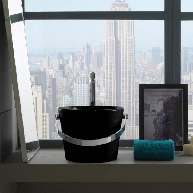 Scarabeo Bucket Aufsatzwaschbecken schwarz, mit BIO System Beschichtung