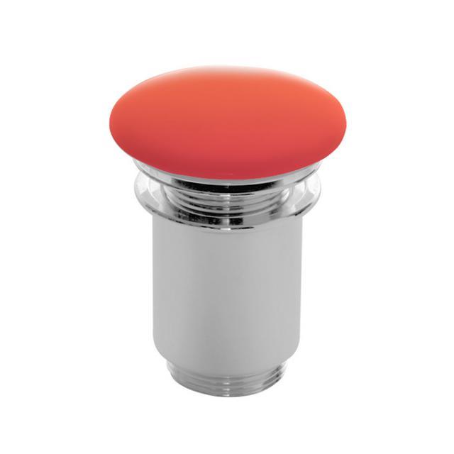 Scarabeo click-clack Ablaufventil mit keramischer Abdeckung, mit Überlaufanschluss orange