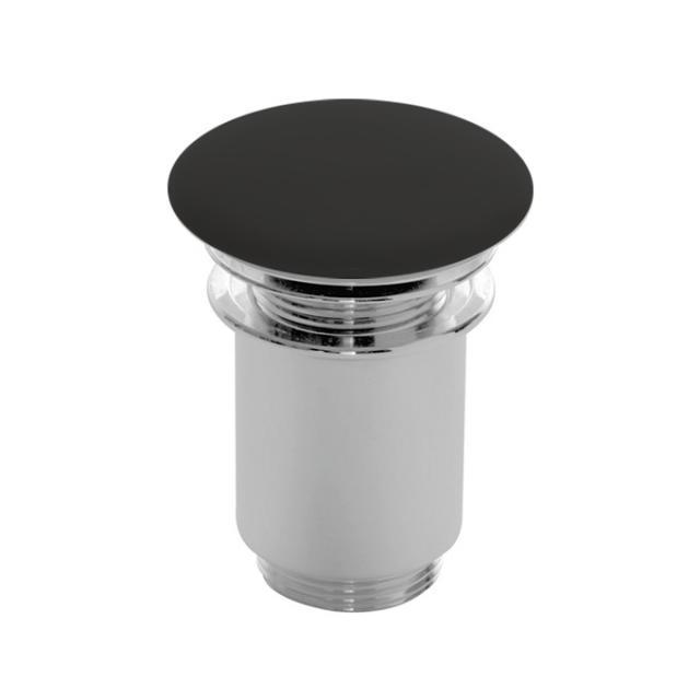 Scarabeo click-clack Ablaufventil mit keramischer Abdeckung, mit Überlaufanschluss schwarz matt