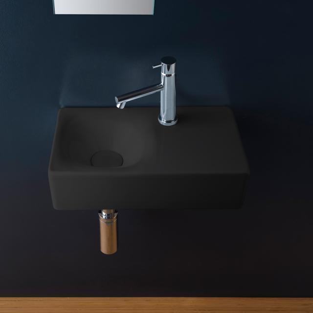 Scarabeo Cube Aufsatz- oder Hängewaschbecken schwarz matt, mit BIO System Beschichtung
