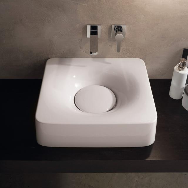 Scarabeo Fuji Aufsatz- oder Hängewaschbecken weiß, ohne Hahnloch