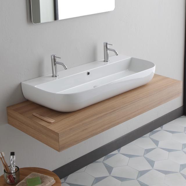 Scarabeo Glam Doppel-Aufsatz- oder Hängewaschbecken weiß