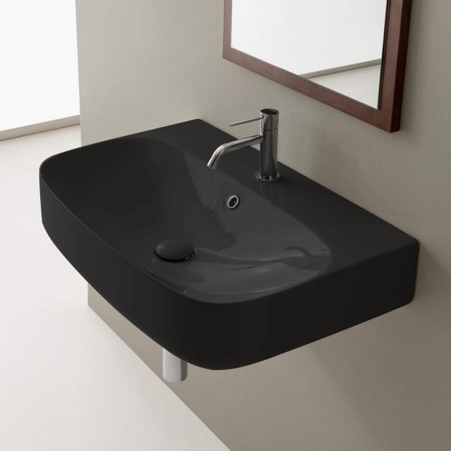 Scarabeo Moon Aufsatz- oder Hängewaschbecken schwarz, mit BIO System Beschichtung