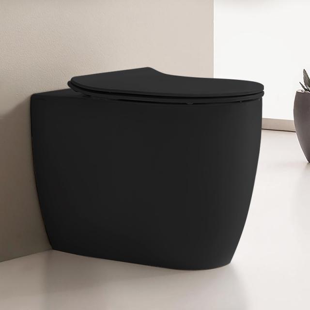 Scarabeo Moon Stand-Tiefspül-WC ohne Spülrand, schwarz matt, mit BIO System Beschichtung