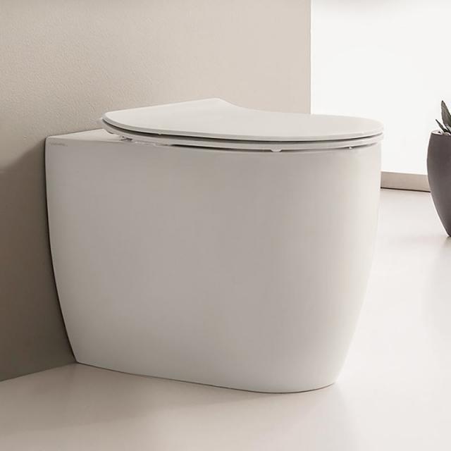 Scarabeo Moon Stand-Tiefspül-WC ohne Spülrand, weiß matt, mit BIO System Beschichtung