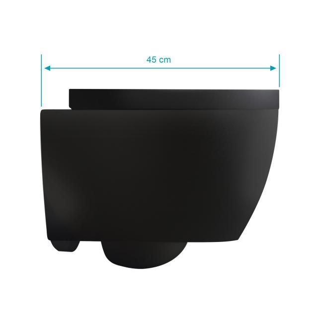 Scarabeo Moon Wand-Tiefspül-WC mit WC-Sitz, ohne Spülrand, Ausführung kurz schwarz matt, mit BIO System Beschichtung