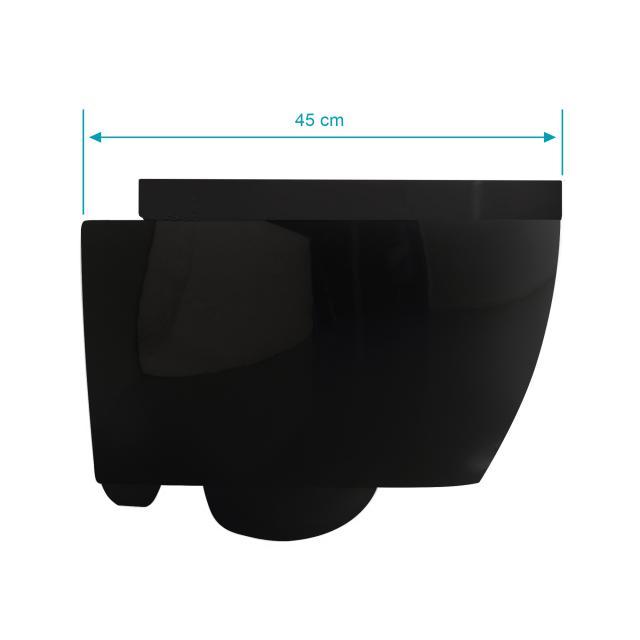 Scarabeo Moon Wand-Tiefspül-WC mit WC-Sitz, ohne Spülrand, Ausführung kurz schwarz, mit BIO System Beschichtung