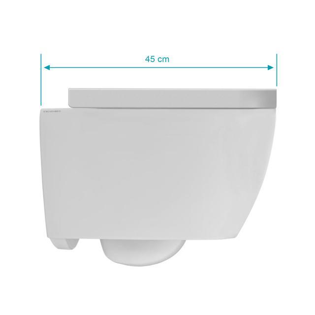 Scarabeo Moon Wand-Tiefspül-WC mit WC-Sitz, ohne Spülrand, Ausführung kurz weiß matt, mit BIO System Beschichtung