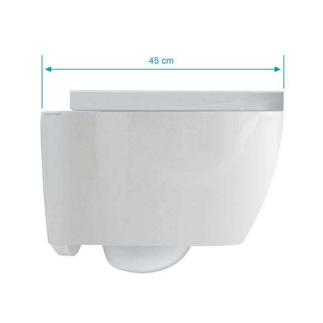 Scarabeo Moon Wand-Tiefspül-WC mit WC-Sitz, ohne Spülrand, Ausführung kurz weiß, mit BIO System Beschichtung