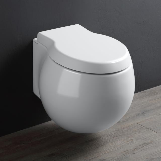Scarabeo Planet Wand-Tiefspül-WC mit WC-Sitz, ohne Spülrand weiß, mit BIO System Beschichtung