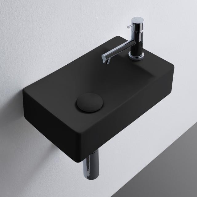 Scarabeo Soft Aufsatz- oder Hängewaschbecken schwarz matt, mit BIO System Beschichtung