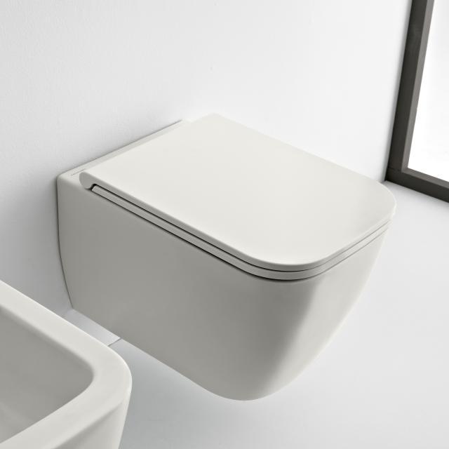 Scarabeo Teorema 2.0 Wand-Tiefspül-WC mit WC-Sitz, ohne Spülrand weiß matt, mit BIO System Beschichtung
