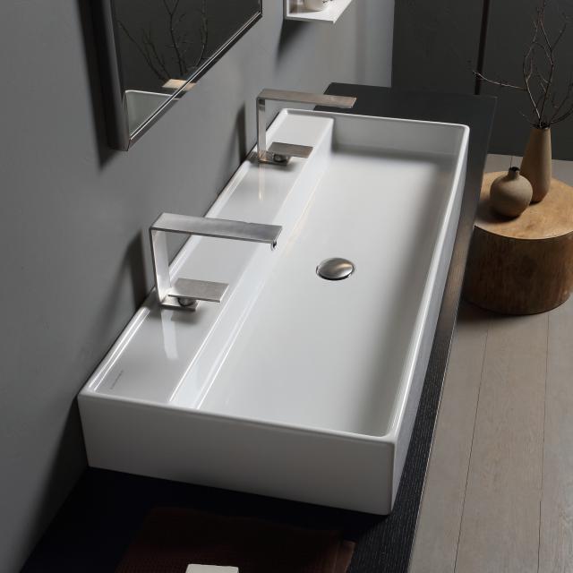 Scarabeo Teorema RB Doppel-Aufsatz- oder Hängewaschbecken weiß, mit BIO System Beschichtung