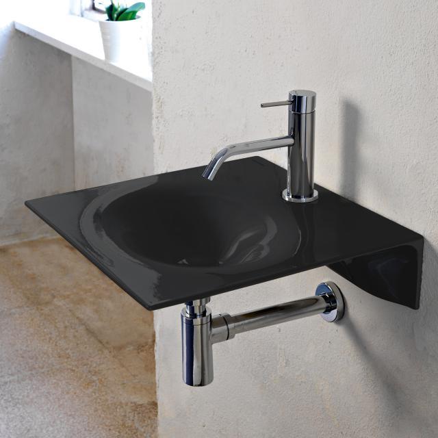 Scarabeo Veil Handwaschbecken schwarz, mit BIO System Beschichtung, ohne Handtuchhalter