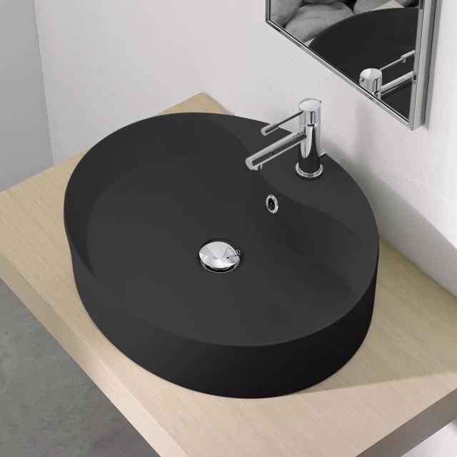 Scarabeo Wind R Aufsatzbecken schwarz matt, mit BIO System Beschichtung