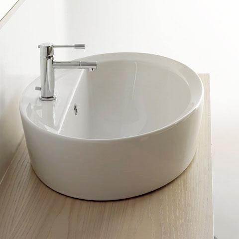 Aufsatzwaschbecken oval mit hahnloch  Scarabeo Matty Tondo Ovale A/R Einbau-Aufsatzwaschtisch weiß ...