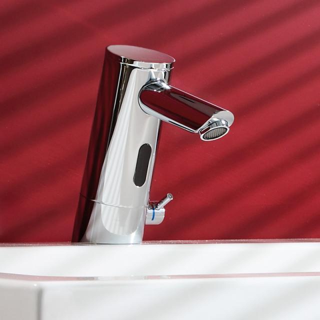 Schell PURIS E Elektronische Waschtischarmatur mit Temperaturregler Ausladung: 107 mm, mit Batterie