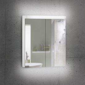 Schneider LOWLINE Plus Spiegelschrank mit 2 Türen neutralweiß, mit Steckdose links