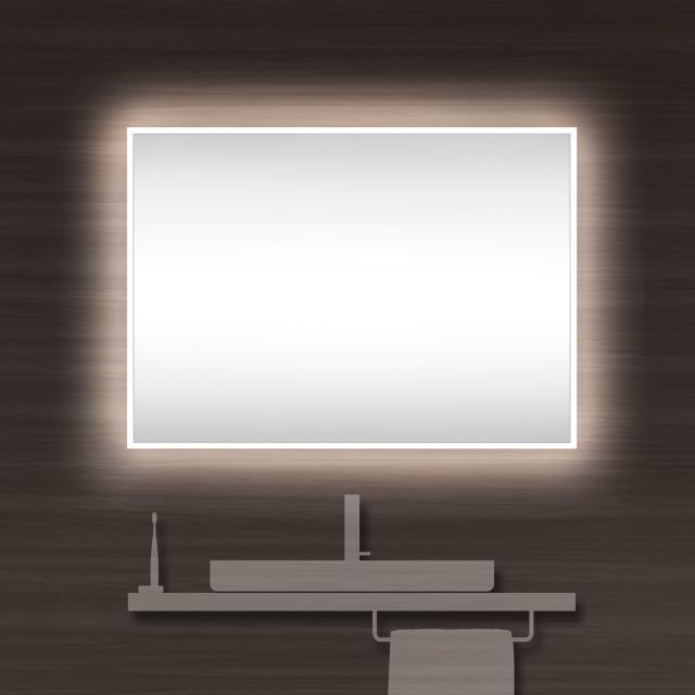 Schneider A-LINE Spiegel mit LED-Beleuchtung silber eloxiert, mit Soundsystem