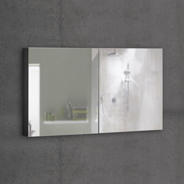 Schneider ADVANCEDLINE Comfort Spiegelschrank mit LED-Innenbeleuchtung mit 2 Türen schwarz matt