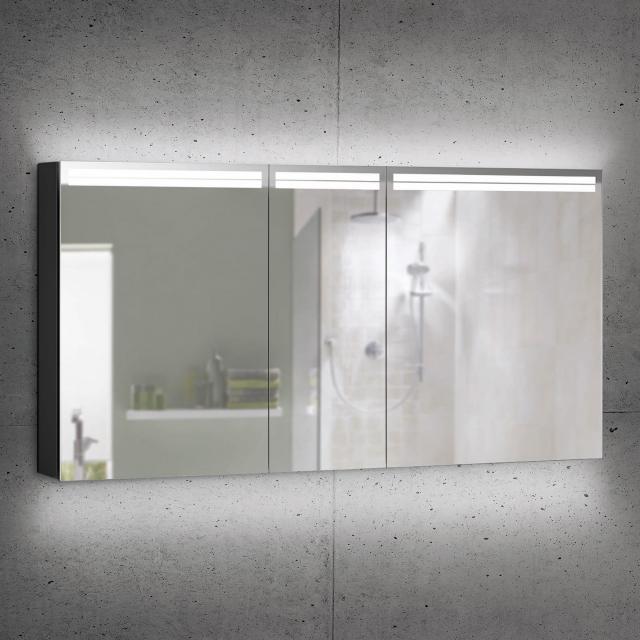 Schneider ARANGALINE Spiegelschrank mit 3 Türen schwarz matt