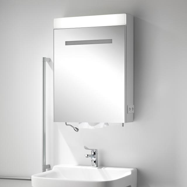 Schneider CARELINE Spiegelschrank mit 1 Tür, mit Papierspender Anschlag links