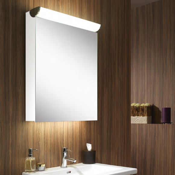 Schneider FACELINE Spiegelschrank mit LED-Beleuchtung weiß, Steckdose rechts