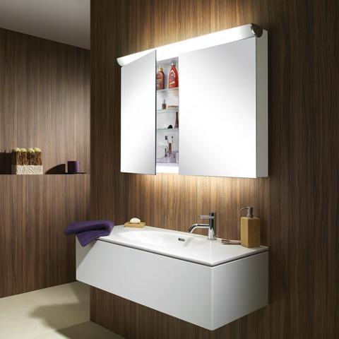 Schneider FACELINE Spiegelschrank mit LED-Beleuchtung silber eloxiert, Steckdose links