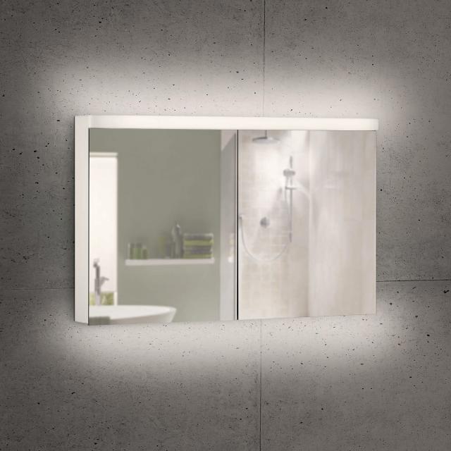 Schneider LOWLINE Plus Spiegelschrank mit 2 Türen warmweiß, mit Steckdose links und rechts