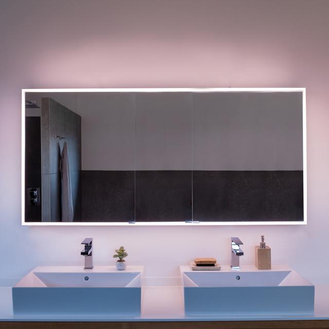Schneider PREMIUMLINE Ultimate Spiegelschrank mit LED-Beleuchtung mit 3 Türen silber eloxiert