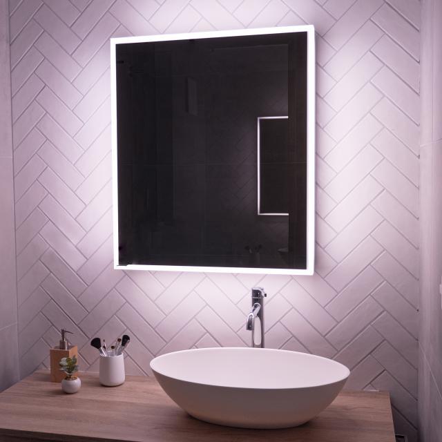 Schneider PREMIUMLINE Ultimate Spiegelschrank mit LED-Beleuchtung mit 1 Tür silber eloxiert, Anschlag links