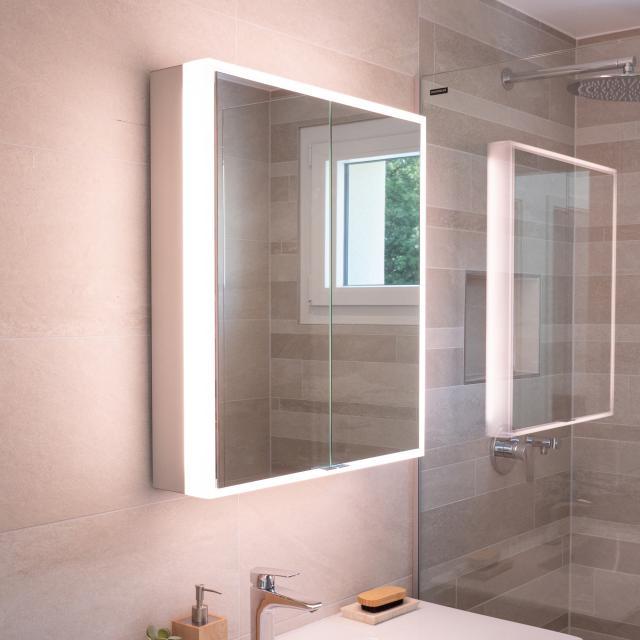 Schneider PREMIUMLINE Ultimate Spiegelschrank mit LED-Beleuchtung mit 2 Türen silber eloxiert, Steckdose links