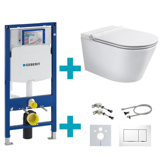 Schütte Cesari Dusch-WC mit WC-Sitz, Montage-& Anschlusszubehör und Sigma30 Drückerplatte