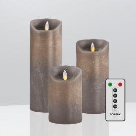 Sompex Flame LED Echtwachskerzen 3-er Set mit Timer und Fernbedienung