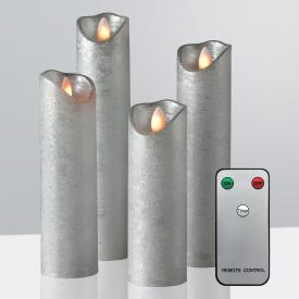 Sompex Shine LED Echtwachskerzen 4-er Set mit Timer und Fernbedienung, lang