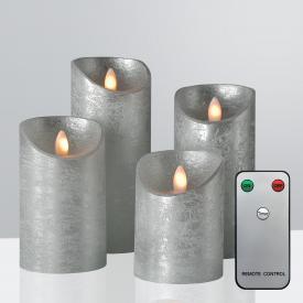 Sompex Shine LED Echtwachskerzen 4-er Set mit Timer und Fernbedienung, kurz