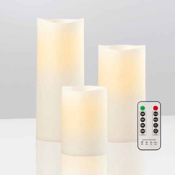 Sompex LED Außenkerze 3-er Set mit Timer und Fernbedienung
