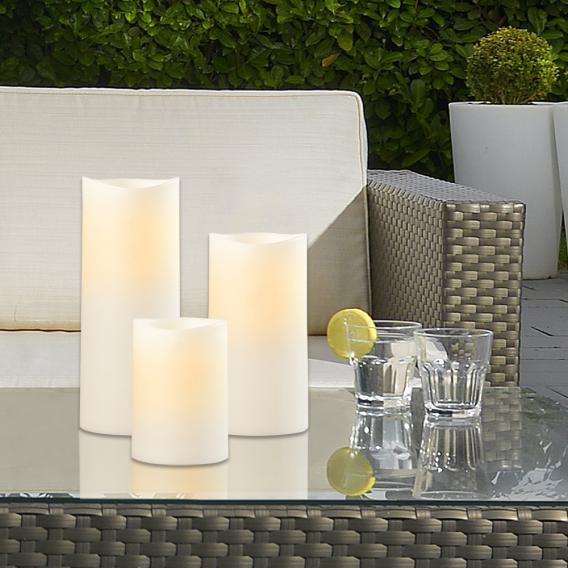 Sompex LED Außenkerze 3er Set mit Timer, fernbedienbar