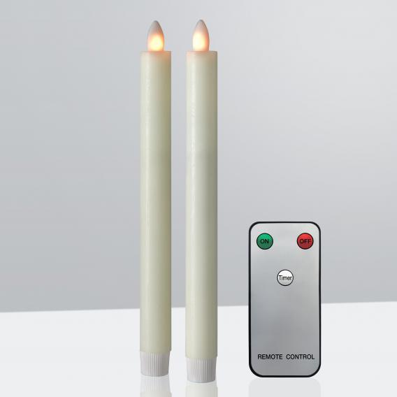 Sompex Shine LED Echtwachs Stabkerze 2-er Set mit Timer und Fernbedienung