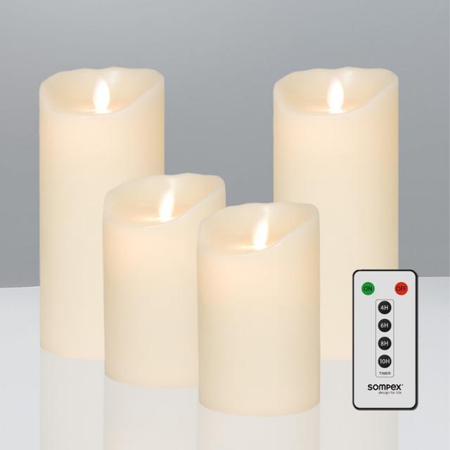 Sompex Flame LED Echtwachskerzen 4er Set mit Timer und Fernbedienung